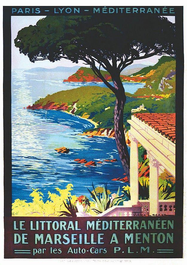 PLM - De Marseille à Menton ( Côte de St Maxime à Cannes ) vers 1910 - illustration de Julien Lacaze - France