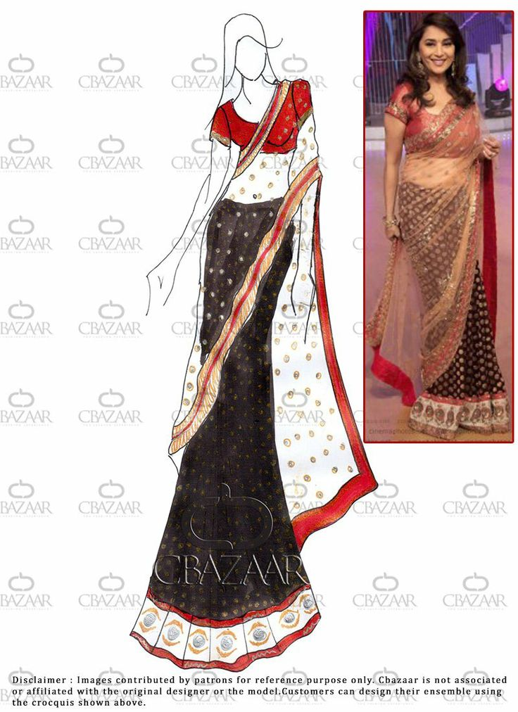 how to draw a woman in a saree