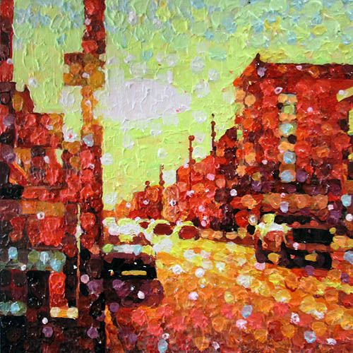 "Susan Gale, Corner of Dowling, oil on panel, 12""x12"". $250"