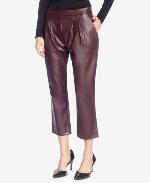 Catherine Catherine Malandrino Landon Faux-Leather Pleated Cropped Pants - Red 10