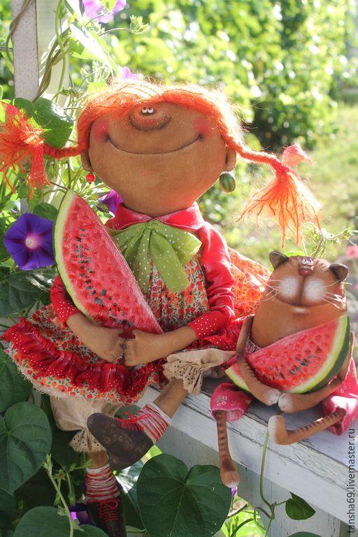 Купить Арбузное лето! - разноцветный, текстильная кукла, ароматизированная кукла, интерьерная кукла, котик, лето