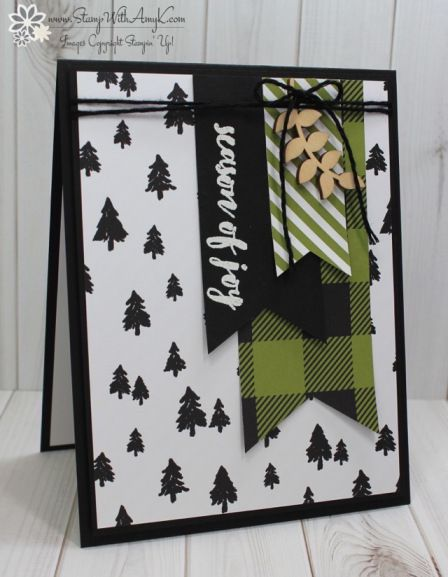Stampin Up! Christmas Pines Banner Card – Stamp With Amy K