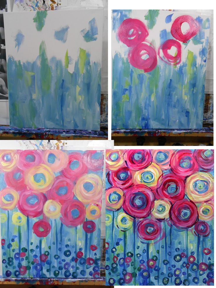 Coming up Roses- Easy. Colors: Red, Blue, Yellow, White. Brushes: Big flat and Medium Round (small round optional- I don't use it for this)