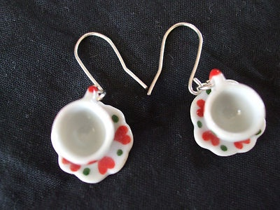 Heart tea cup and saucer earrings handmade with hand forged recycled sterling silver wires