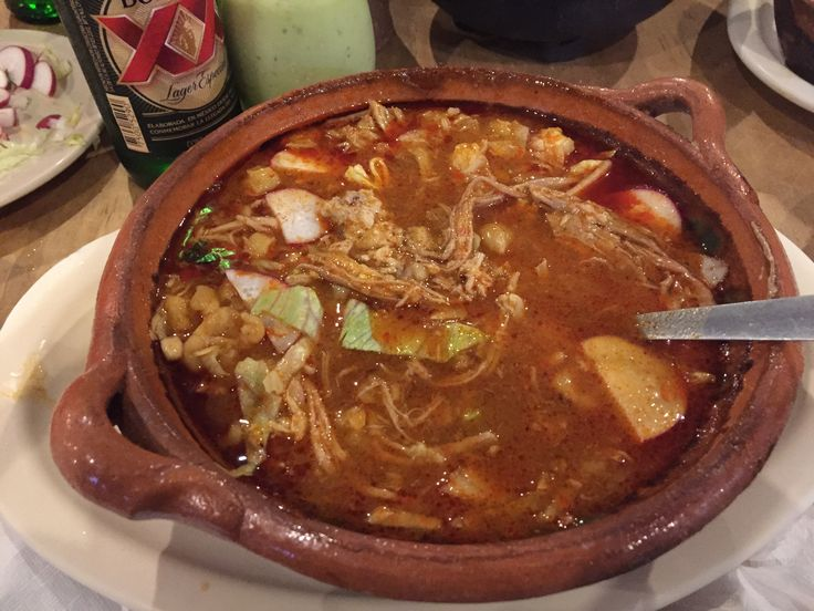 The regional dish of Pozole is hearty and delicious. Otates specialty, shown here. Great place to eat, overall.