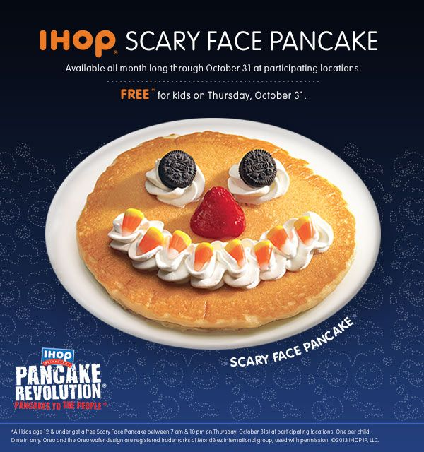 Freebie ~ Food ~ FREE Scary Face Halloween Pancake For Kids, TODAY ONLY @ IHOP! ~