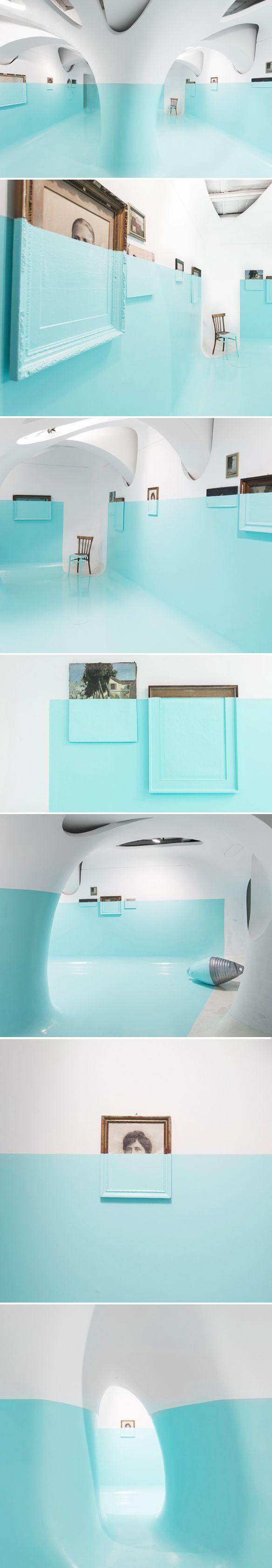 Davide d'elia - Tiffany blue boat like space filled installation