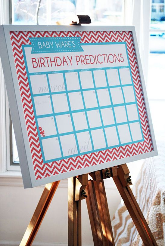 Cute display board for baby shower guests to make predictions on when the baby will arrive