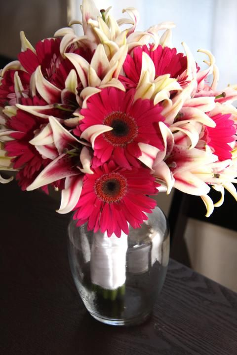 Example of bouquet with stargazer lilies and gerberas together.