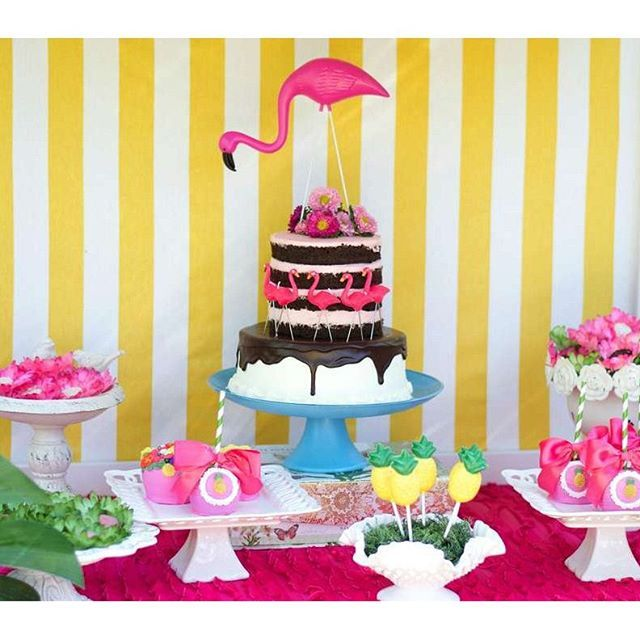 Here's a birthday party from @viablossomshop with a flamingo and pineapple theme!  See the whole party in our profile link! by catchmyparty