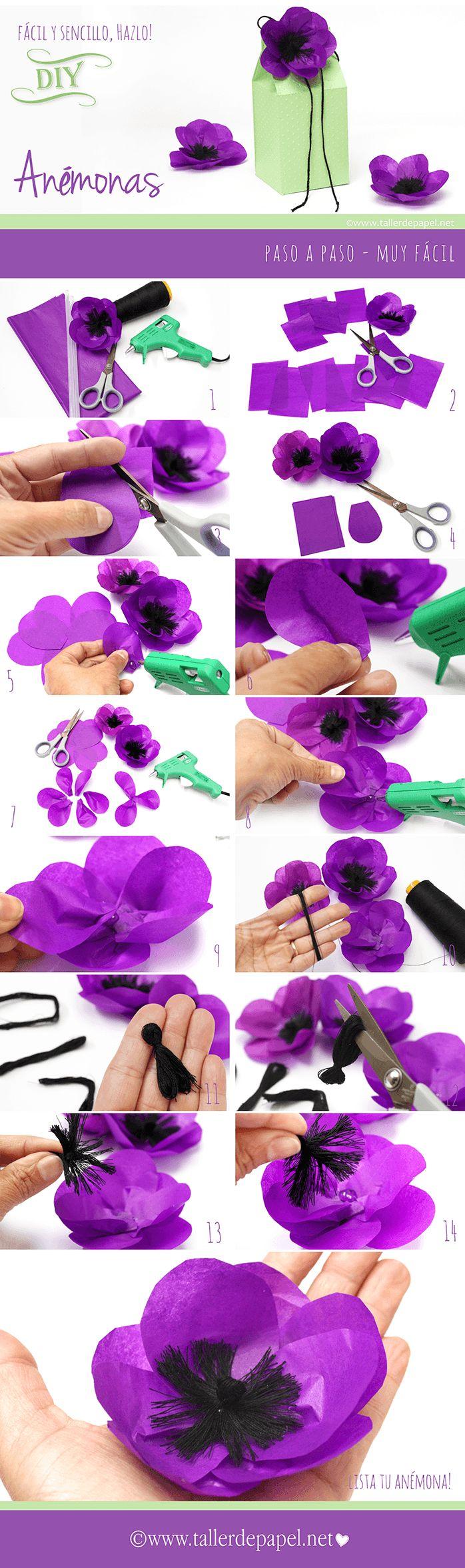 DIY: Tutorial de flores de papel. Lindas anémonas para decorar tus regalos y más! - Taller de Papel
