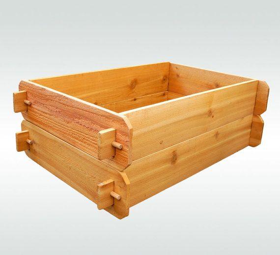 CAMAS levantadas cedro de 2 x 3 SET macetas Huerta cajas macetas al aire libre grandes plantadores hierba cajas Jardín Jardinera cajas jardín camas