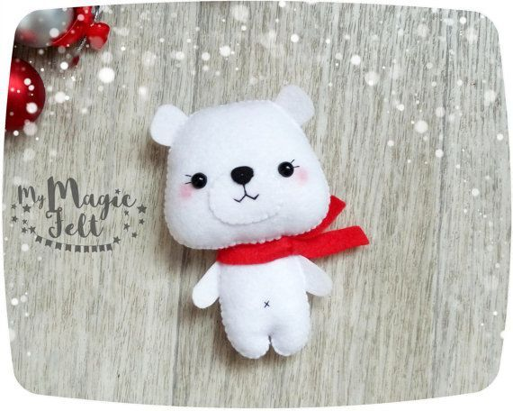 Christmas Ornaments felt Polar Bear ornament Christmas gifts for kids Christmas…