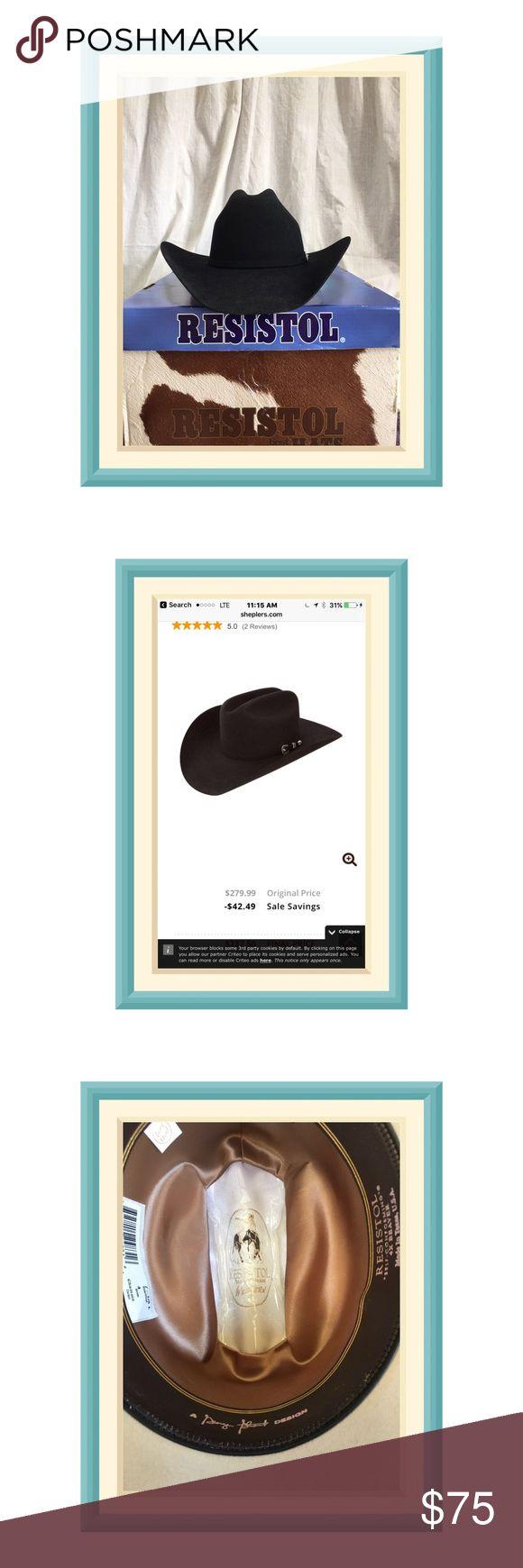 RESISTOL 6x beaver Black Cowboy Hat Beautiful, self-conforming 6x beaver RESISTOL Cowboy Hat EUC RESISTOL  Accessories Hats