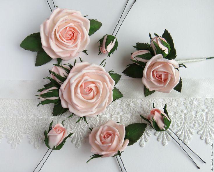 Купить Свадебный комплект - браслет, бутоньерка, шпильки из фоамирана - свадебные аксессуары, свадебные украшения