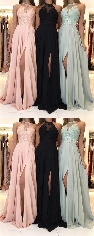 Charming Lace Halter Long Chiffon Split Evening Gowns 2018 Formal Prom Dresses  G332