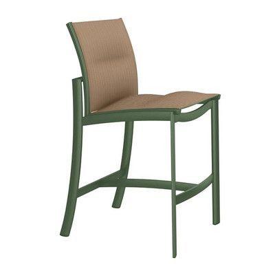 "Tropitone KOR 28"" Bar Stool Seat Color: East Wood, Frame Finish: Woodland"