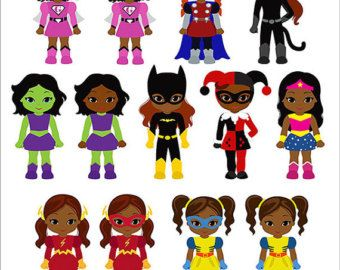 Girls Superhero clip art Supergirl clipart African by Alefclipart