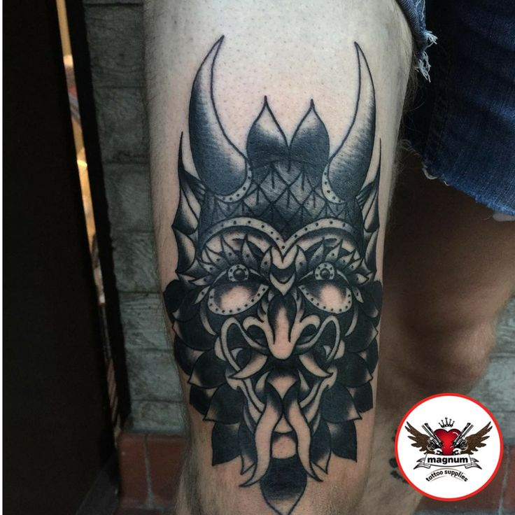 Incredible devil head piece with #magnumtattoosuppies  from Mike C Davies Tattooer