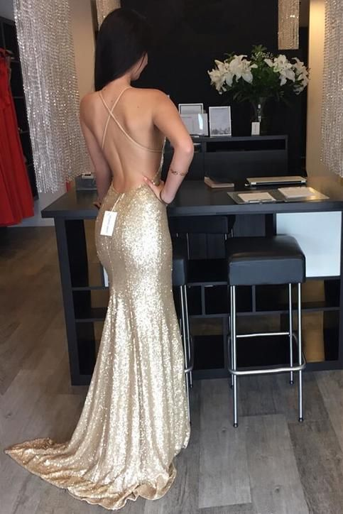 Backless Sequin prom dress, Mermaid Gold prom dress, Long prom dress, 2017 prom dress, Custom prom dresses, 16173 sold by OkBridal. Shop more products from OkBridal on Storenvy, the home of independent small businesses all over the world.