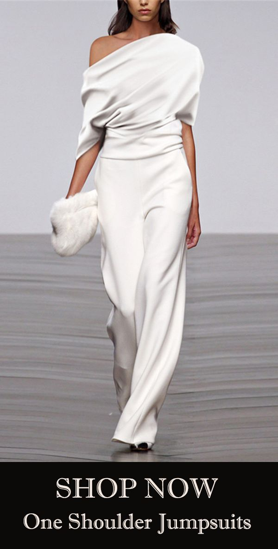 Fashion Solid Color Pleated Off Shoulder Wide Leg Jumpsuit