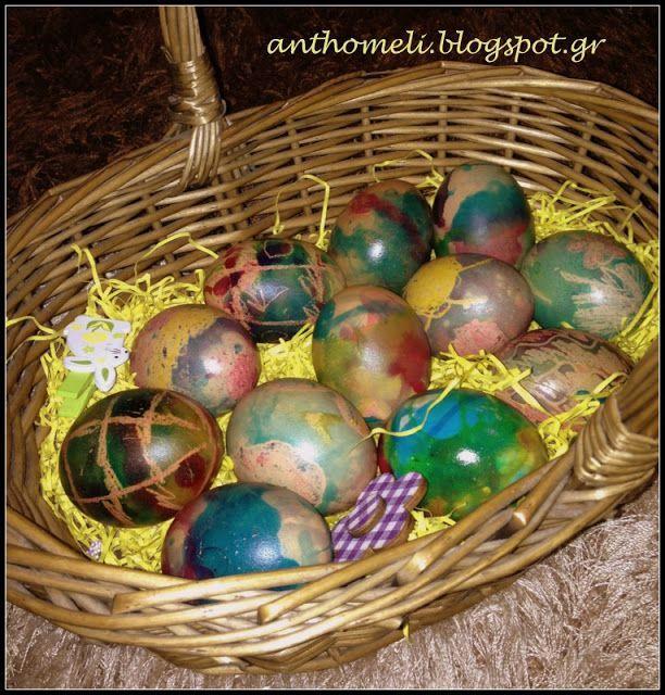 Πασχαλινά αυγά με κηρομπογιές και χρώματα ζαχαροπλαστικής - Anthomeli