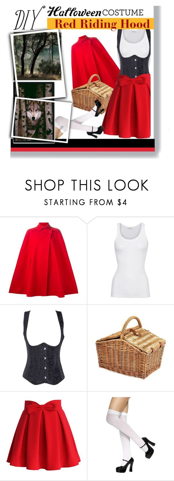 """DIY Halloween Costume: Red Riding Hood"" by rachelsantos ❤ liked on Polyvore featuring Versace, American Vintage, Picnic Time, Chicwish and Amanti Art"