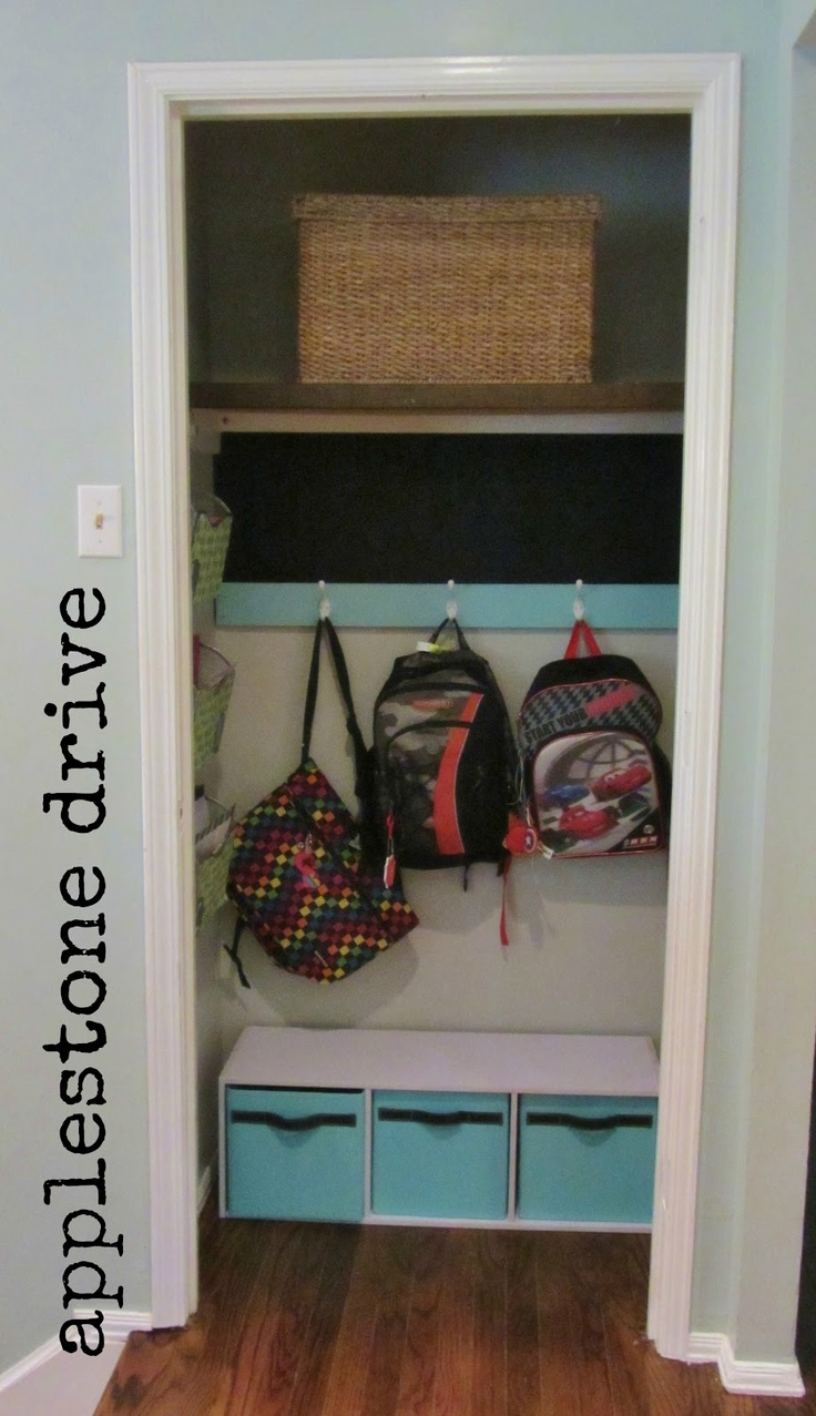 I just had this same idea.... a little different but still hooks in the front closet for backpacks!!  Backpack Station in the entry closet - brilliant!