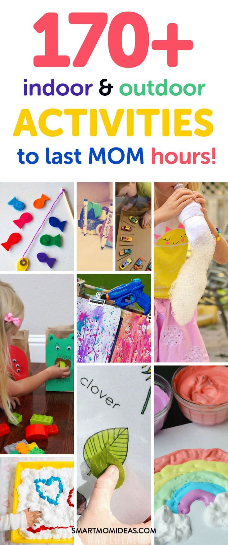 Need some summer toddler activities? Or how about mess-free toddler activities? Whether you are indoors or outdoors, check out this epic list of over 170+ indoor and outdoor toddler activities to last mom hours of free time! Yay!