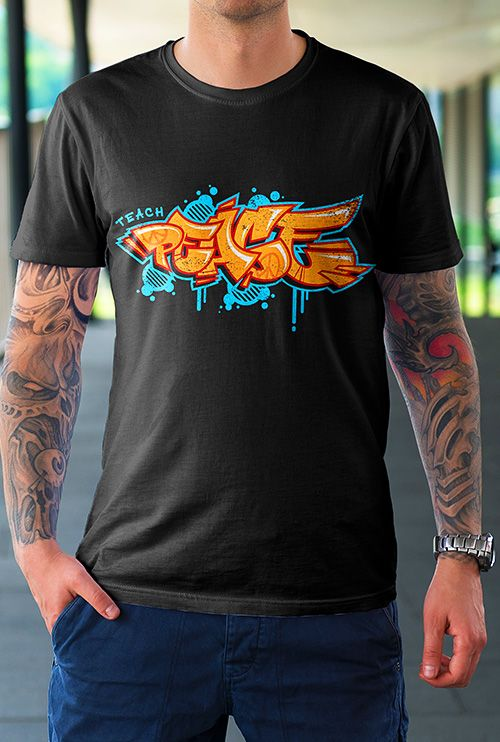 170f207c Graffiti - Hiphop T-Shirts This TEACH PEACE oldschool Graffiti Hiphop style  graphic Tee shirt makes a perfect gift for anyone who loves Graffiti art and  ...