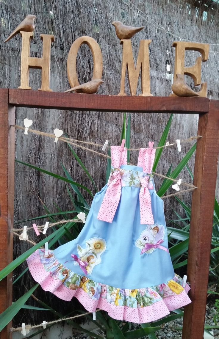 Fairy dress, size 1, toddler dress, girl's dress, blue, pink polkadot, bows, shoulder ties, hand sewn, unique, fairy fabric, summer dress by LittleLarkClothing on Etsy