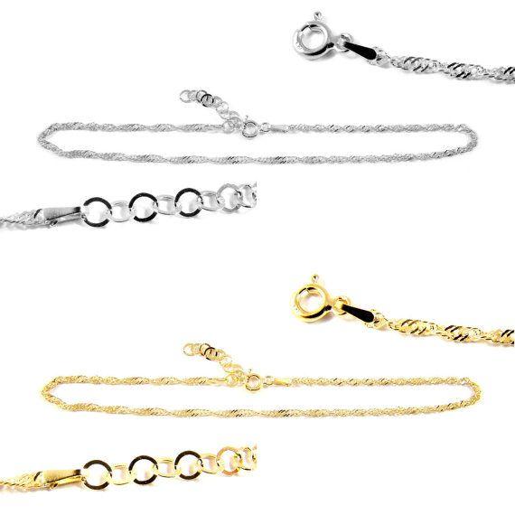 Sterling silver anklet bracelet ankle 102 by DawidPandel on Etsy, zł40.00