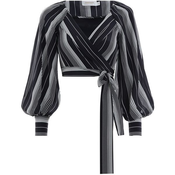 ZIMMERMANN Whitewave Chevron Wrap Blouse (1,005 PEN) ❤ liked on Polyvore featuring tops, blouses, sleeve blouse, chevron print tops, sleeve top, zimmermann blouse and wrap blouse