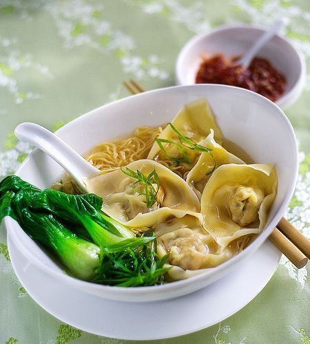 Wonton noodle soup - A bit time-consuming to fold all the wontons, but really quite fun! After they're done, it's super easy.