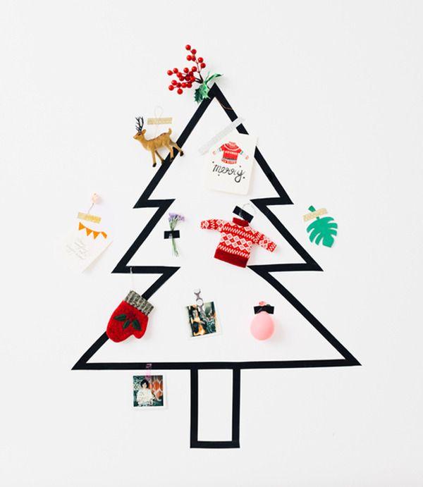 A Tape Tree http://asubtlerevelry.com/10-last-minute-christmas-ideas