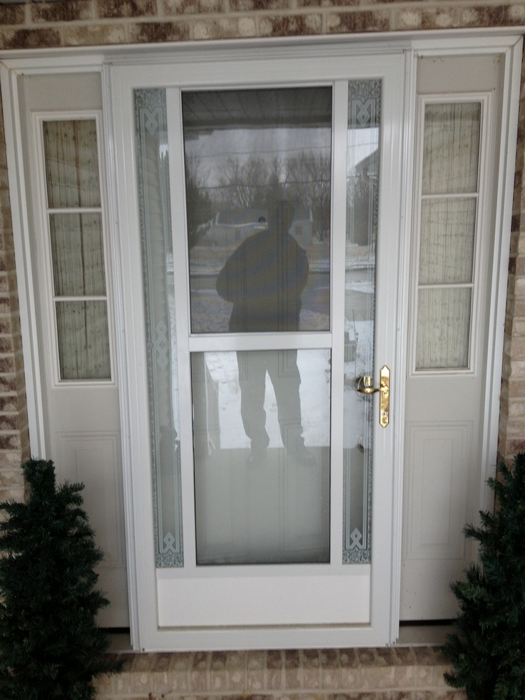 Newly installed front door sidelights and storm door for Front door and sidelights