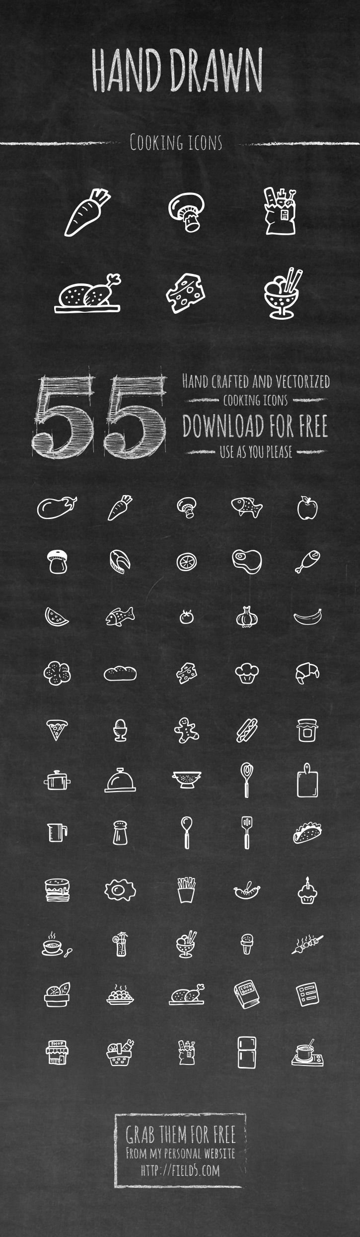 A set of 55 free hand-drawn vector cooking icon set. Free for both commercial and personal use. Available for free to download in vector EPS format. Downlo - posted under Icons tagged with: Cooking, EPS, Food, Free, Graphic Design, Hand-Drawn, Icon, Kitchen, Resource, Vector by Fribly Editorial