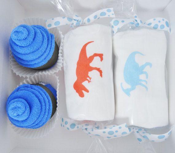 Adorable Baby Boy Gift....a Washcloth Cupcakes Gift Box!   #dinosaurs #babygift #babyboy #t-rex #etsy
