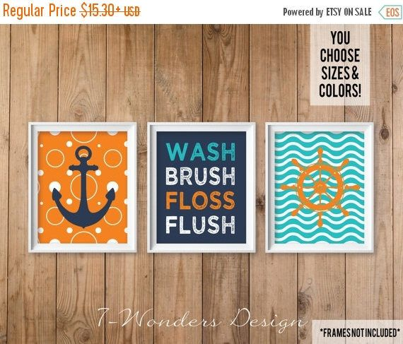 ON SALE Nautical Kids Teens Bathroom Decor Wall Art, Wash Brush Floss Flush Print Set of (3) 5x7, 8x10, 11x14 Navy Blue Orange Shower Unfram