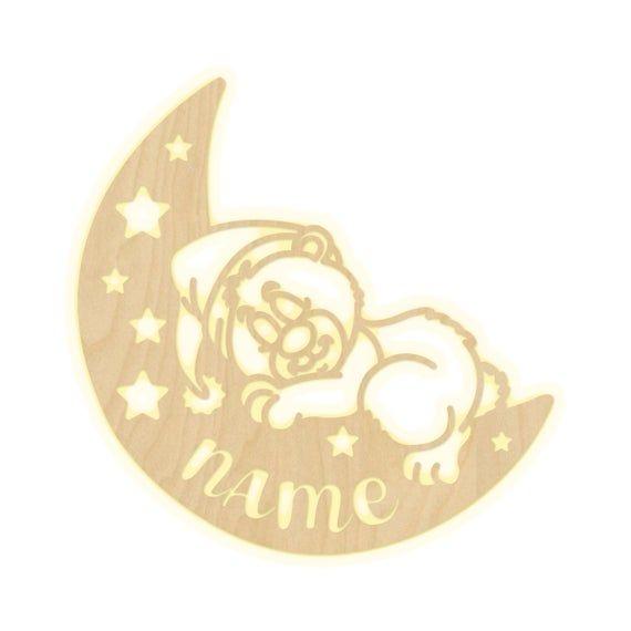 Wandlampe Barchen Mond Kinderzimmer Personalisierte Lampe Namen Nachtlicht Leuchte Wandleuchte Jungen Madchen Baby Schlummerlicht Symbols Letters Names