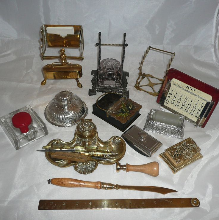 A Collection Of Vintage Writing And Desk Accessories Including A Silver Inkwell By James Deakin