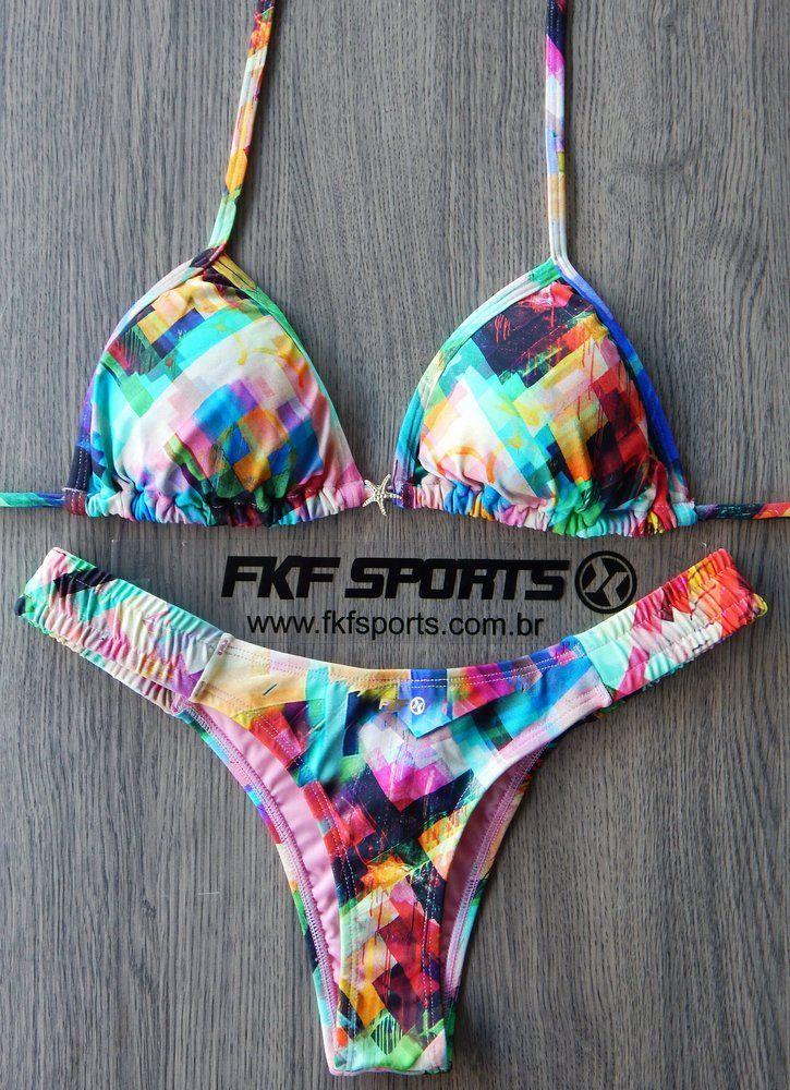 71752b253 Biquini cortininha, calcinha fio duplo lateral franzida - Moda praia,  Vestuário esportivo, Fitness, masculino e feminino