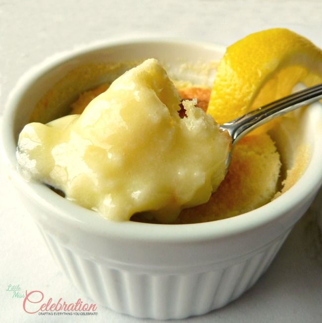 Lemon cups, a sweet and tangy sponge cake and sauce in one! Get the how-to and recipe at littlemisscelebration.com.