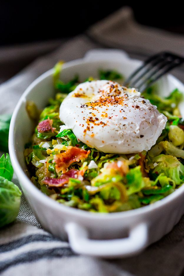 Brussel Sprout Hash w/ Soft Poached Egg & Aleppo Pepper. Bacon crumbles optional. | www.feastingathome.com
