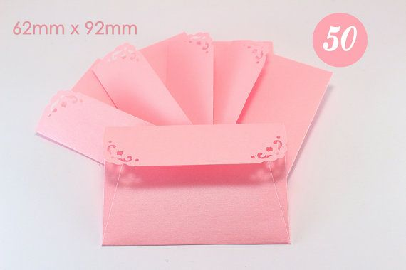 50  Mini Baby Pink Envelopes with note cards  Luxury Metallic