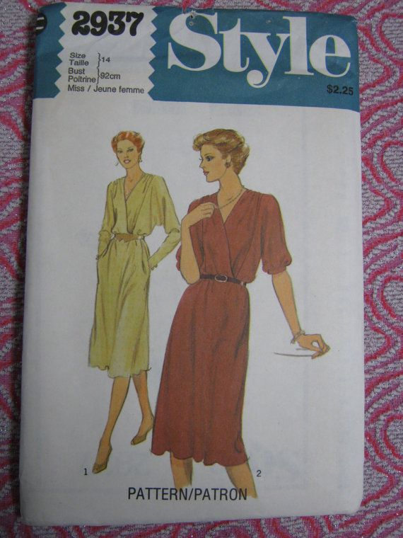 Vintage Style Pattern 2937 80s Dress with Dolman Batwing Sleeves 2 Lengths Mock Wrap Size 14 Bust 36 1980