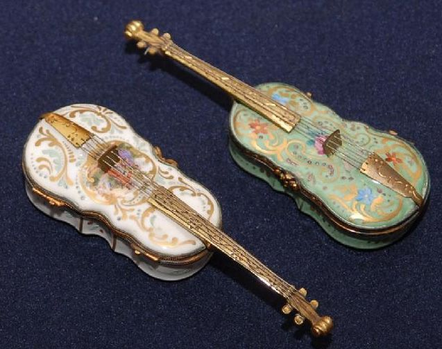 Porcelain Antique French Violin Snuff Boxes Boxes Cases