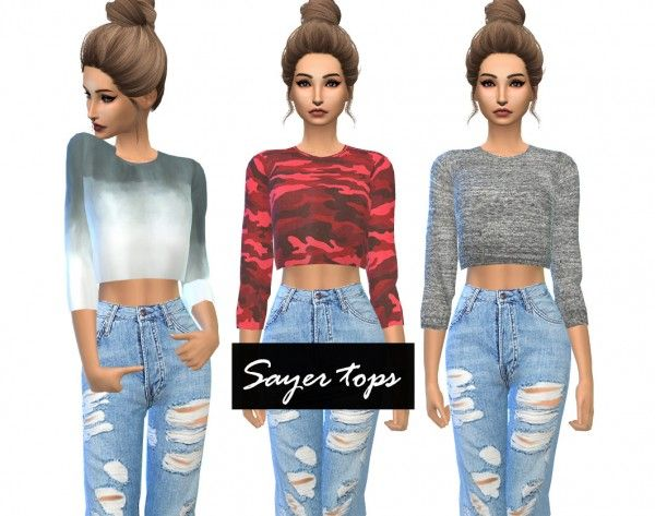 Colette Crop Top by @dear-solar recolors by ikari-sims. The Sims 4 Downloads. #clothing #female #top.