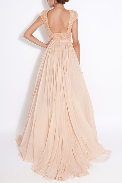 Blush cap sleeved gown with low back.
