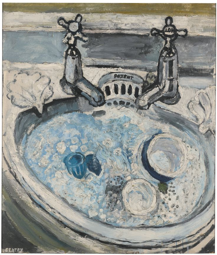 Kitchen Sink Realism Art: Breakfast Things In A Hand Basin With